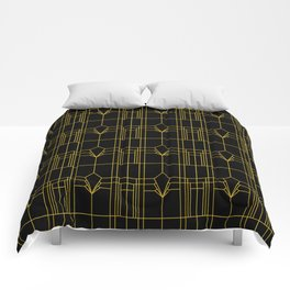 Parisienne Elegant Gold and Black Art Deco Pattern Comforters