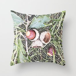 Autumn Acorns 1 Throw Pillow