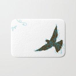 Bird Fly No. 2  (Brown/Aqua) Bath Mat