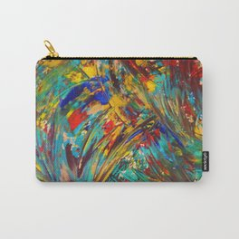 FIREWORKS IN COLOR - Bold Abstract Acrylic Painting Lovely Masculine Colorful Splash Pattern Gift Carry-All Pouch