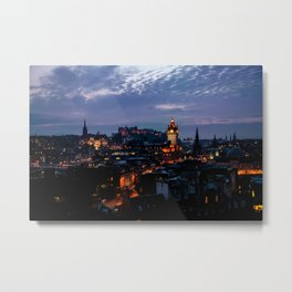 Edinburgh castle view from Calton Hill at night Metal Print