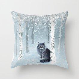 Norwegian Forest Cat Throw Pillow