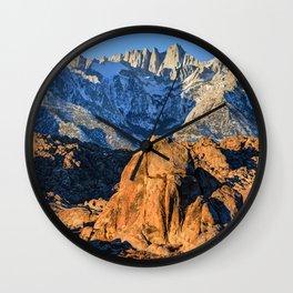 Sierra Nevada Mountains And Alabama Hills Sunrise Wall Clock