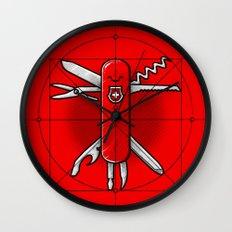 Vitruvian Swiss Knife Wall Clock