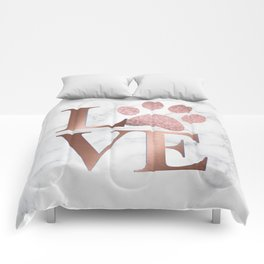 Love is a Four Letter Word - Rose Gold and Marble Comforters
