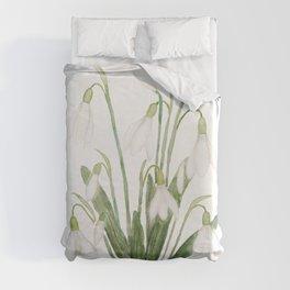 white snowdrop flower watercolor Duvet Cover
