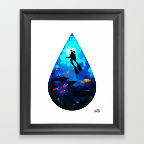 Diver of the Blue Framed Art Print