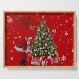 Santa Christmas Scene Serving Tray
