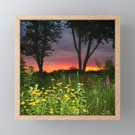 Sunset Over a Wildflower Field Framed Mini Art Print