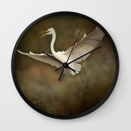 Great White Egret - Landing Wall Clock