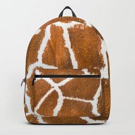 Close-up view of Giraffe fur pattern. Animal skin background, animal print background. Genuine leather skin of giraffe  Backpack