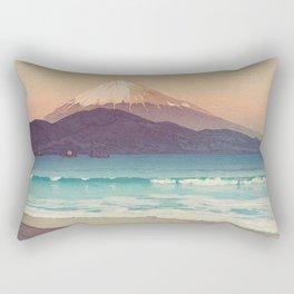 Fujiyama from Miho 1935 Vintage Beautiful Japanese Woodblock Print Hiroshi Yoshida Rectangular Pillow