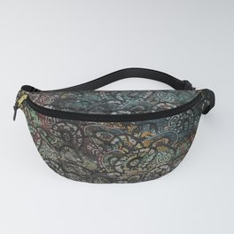 Burned Color  Paisley Pattern on  Wood Fanny Pack