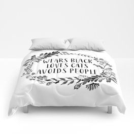 Wears Black Loves Cats Avoids People Art Print watercolor ink flowers Comforters