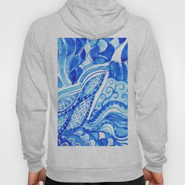 watercolor blue composition Hoody