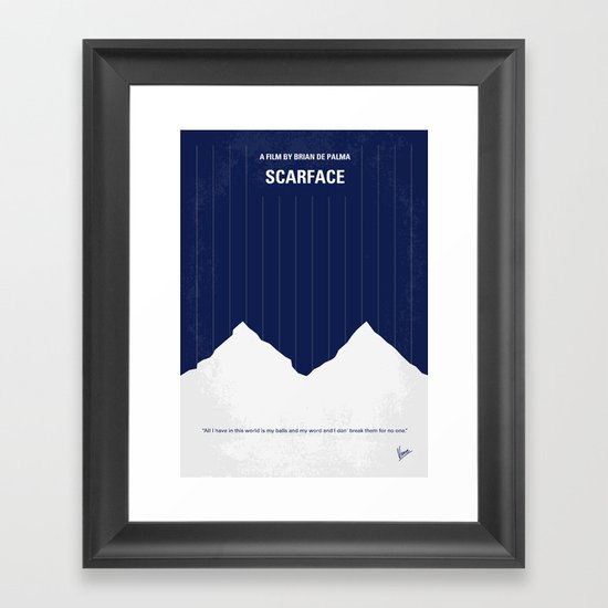 No158 My SCARFACE minimal movie poster Framed Art Print