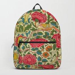 William Morris Roses Floral Textile Pattern Backpack