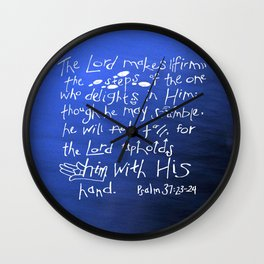 Psalm 37:23-24 Wall Clock