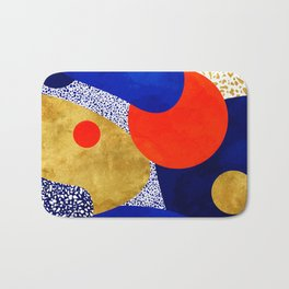Terrazzo galaxy blue night yellow gold orange Bath Mat