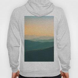 Misty Minimalist Mountain Landscape Photo Parallax Turquoise Yellow Hues Hoody