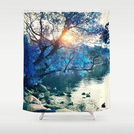 Hope in blue Shower Curtain
