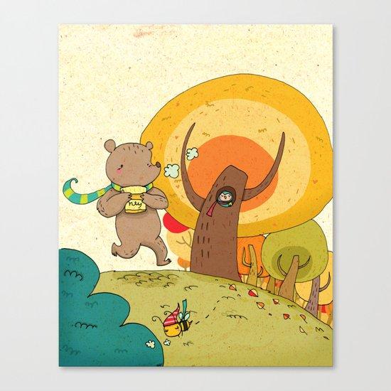 bear and honey love Canvas Print