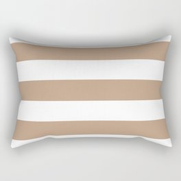 Pale taupe - solid color - white stripes pattern Rectangular Pillow