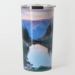 Hikers Bliss Perfect Scenic Nature View \ Mountain Lake Sunset Beautiful Backpacking Landscape Photo Travel Mug
