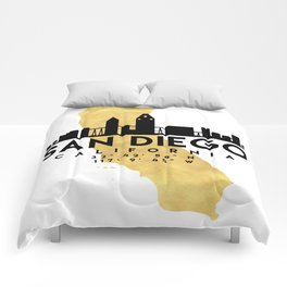 SAN DIEGO CALIFORNIA SILHOUETTE SKYLINE MAP ART Comforters