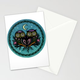 A Perfect Pair Of Midnight Moonlit Owls Stationery Cards