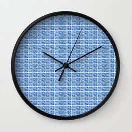 Blue Fish Block Print Wall Clock
