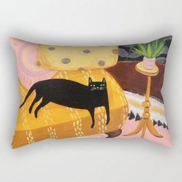 black cat on mustard yellow sofa painting by Tascha Rectangular Pillow