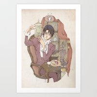 bunnies Art Prints featuring bunnies by Loputyn