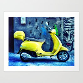 A Yellow Scooter Art Print