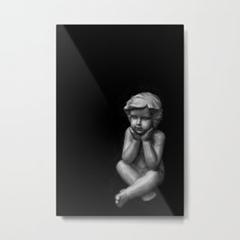 White sculpture of a small boy Metal Print