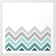WHITE/ TEAL CHEVRON FADE Art Print