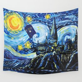 Tardis Flying Starry Castle Night Wall Tapestry