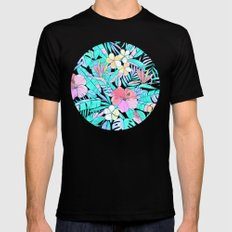 Pretty Pastel Hawaiian Hibiscus Print Mens Fitted Tee 2X-LARGE Black