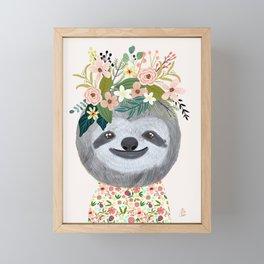 Sloth with flowers on head Framed Mini Art Print
