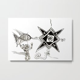 The Fish, The Diver and The Star Metal Print