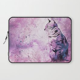 Pink Watercolor Cat Painting Laptop Sleeve