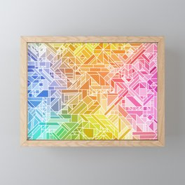 Bright Gradient (Hot Pink Orange Green Yellow Blue) Geometric Pattern Print Framed Mini Art Print
