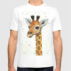 Giraffe Baby Animal with Hearts Watercolor Cute Whimsical Animals Nursery Mens Fitted Tee LARGE White