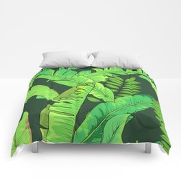 Green Jungle Tropical Leaves Pattern Comforters