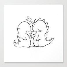 Dino Love Black and White Canvas Print