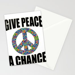 Anti War Give Peace a Chance Peaceful Change Protest for Freedom Stationery Cards