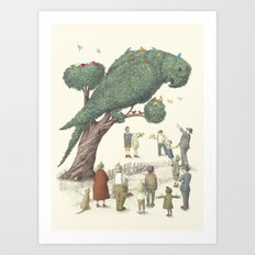 The Night Gardener - Parrot Topiary  Art Print