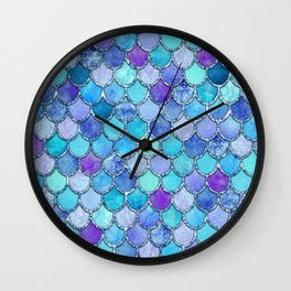 Colorful Blues Mermaid Scales Wall Clock