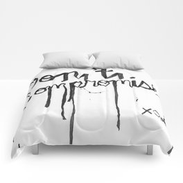 Black + White Don't Compromise, Silk Graffiti by Aubrie Costello Comforters