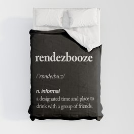 Rendezbooze black and white contemporary minimalism typography design home wall decor black-white Comforters